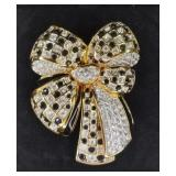 Large Signed Swarovski Crystal Bow Pin Brooch