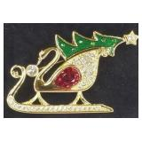 Signed Swarovski Crystal Swan Sled Pin Brooch
