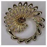 Signed Swarovski Multi Color Crystal Flower Brooch