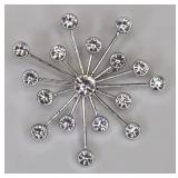 Signed Swarovski Crystal Starburst Brooch