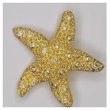 Signed Swarovski Crystal Star Fish Pin Brooch