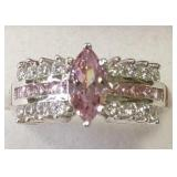 Ladies Sterling White & Pink Sapphire Dinner Ring