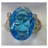 Ladies Sterling White Sapphire & Blue Topaz Ring