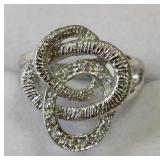 Ladies Sterling White Sapphire Swirl Ring