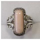 Ladies Sterling Silver Peruvian Pink Opal Ring