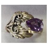 Ladies Sterling Silver Handcrafted Amethyst Ring
