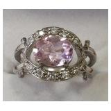 Ladies Sterling White & Pink Sapphire Ring