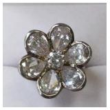 Ladies Sterling Silver White Sapphire Flower Ring