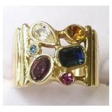 Ladies Sterling Silver Multi Gemstone Ring