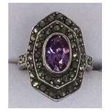 Ladies Sterling Amethyst & Marcasite Ring