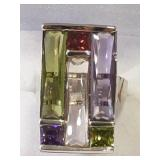 Ladies Sterling Multi Gemstone Mosaic Dinner Ring