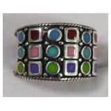 Ladies Sterling Silver Multi-Stone Ring