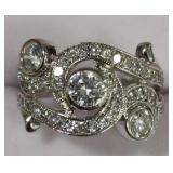Ladies Sterling Silver White Sapphire Dinner Ring