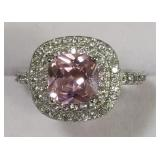 Ladies Sterling Silver White & Pink Sapphire Ring
