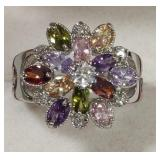 Ladies Sterling Multi Stone Flower Cocktail Ring