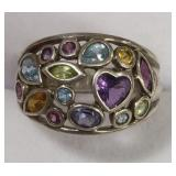 Ladies Sterling White Multi Stone Estate Ring