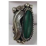 Signed AL Sterling Silver Malachite Ring
