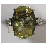 Ladies Sterling Silver Lemon Quartz Cocktail Ring