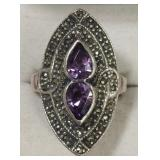 Ladies Sterling Silver Amethyst & Marcasite Ring