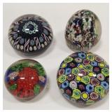 Lot Of Four Art Glass Paperweights