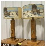 Wooden western style lamp with western portrait