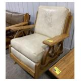 Western style wooden framed leather rocking chair