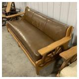 Western style wooden frame leather couch with