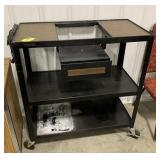 Metal rolling utility cart with electrical plug