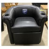 Leather round back reclining chair with