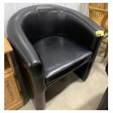 Leather round back chair