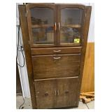 Wooden bar cabinet with glass door and fold down