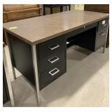 Metal frame wood top 6 drawer office desk