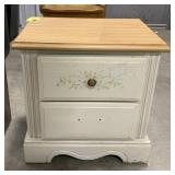 "Wooden 2 drawer night stand measures 22.5""T x"