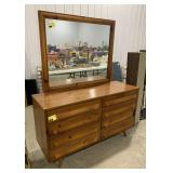 "Wooden 8 drawer dresser with mirror measures 69""T"