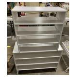"Wooden shelf measures 46.5"" T x 31""L x 11.5""W"