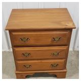 "Wooden 3-drawer side table, 25 1/2""T x 21 1/2""W x"