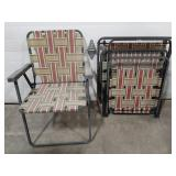 Lot of 3 folding patio lawn chairs.