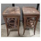 """Vtg Ornate wood carved end table. 23""""T x 26""""L x"""