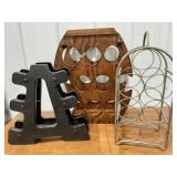 Lot of 2 wine racks and other rack.