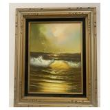 Framed Signed Canvas Painting Beach Wave