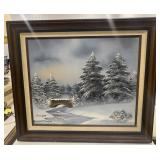 Signed Framed Canvas Painting Snowy Trees