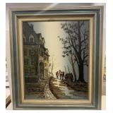 Framed Signed Canvas Painting Building and Trees