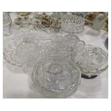 Large lot of etched and pressed glass