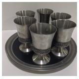 Pewter glass set and tray made in Norway