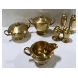 Lot of gold painted porcelain creamer, sugar bowl