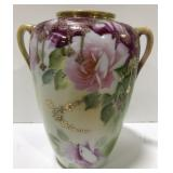 "Nippen Hand painted floral vase 7.5"" tall."