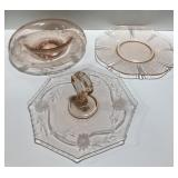Lot of 3 pink depression glass platters.