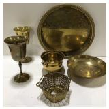 Lot of brass colored Metal platter, wine cups and