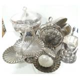 Misc lot of silver tone pieces. Serving trays,