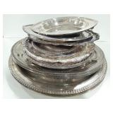 Misc lot of silver tone serving trays.